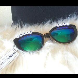 Cat eye Green mirrored sunglasses festival